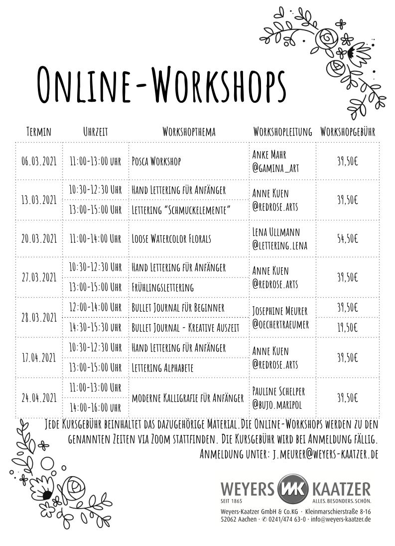 Workshops bei Weyers Kaatzer 20211